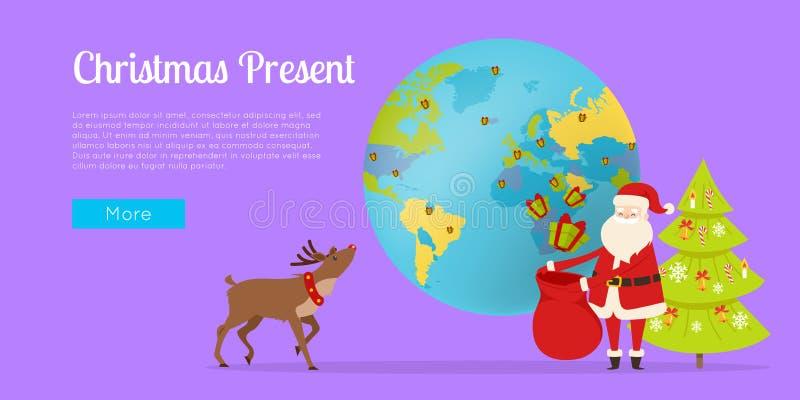Levering van Kerstmisgift rondom Wereldvector vector illustratie