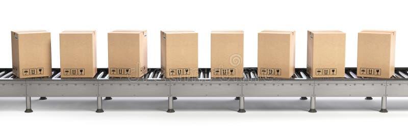 Levering, verpakkings en elektronische handel concept Transportband en ca vector illustratie
