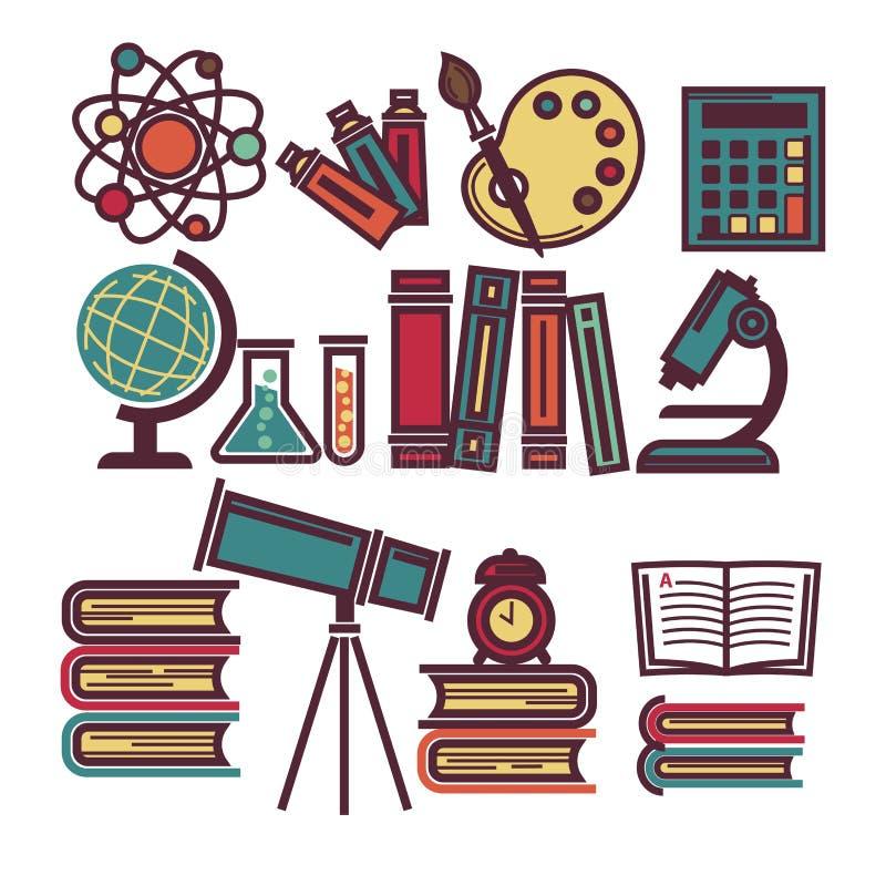 Levering voor onderwijs en wetenschappelijke geplaatst onderzoekillustraties stock illustratie