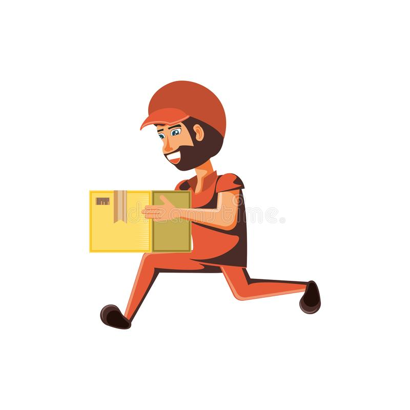 Leveringsarbeider met doos het opheffen vector illustratie