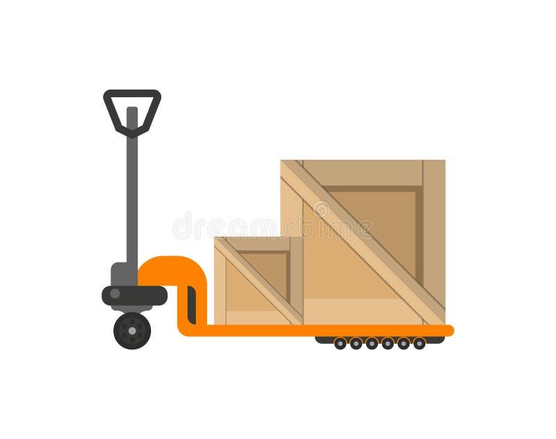Leveringsdozen op handvrachtwagen in vlak ontwerp royalty-vrije illustratie
