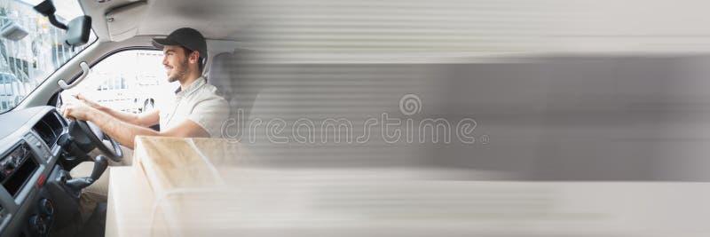 Leveringskoerier in bestelwagen met overgangseffect royalty-vrije stock afbeelding