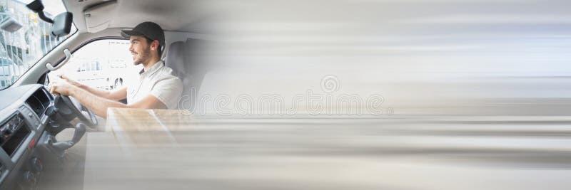 Leveringskoerier in bestelwagen met transition_Delivery_0003 stock foto's