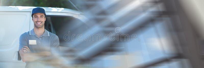 Leveringskoerier en bestelwagen met overgangseffect stock fotografie