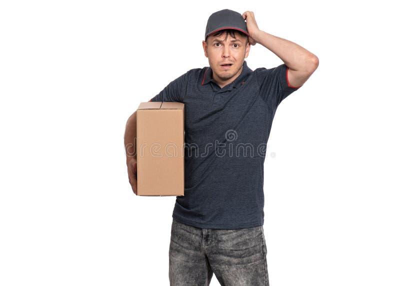 Leveringsmens in GLB op wit stock foto's