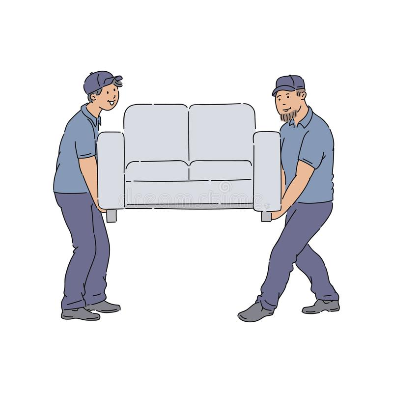 Leveringsmensen die een laag, jonge de dienstmensen met uniformen bewegen die een nieuwe bank leveren aan huis vector illustratie