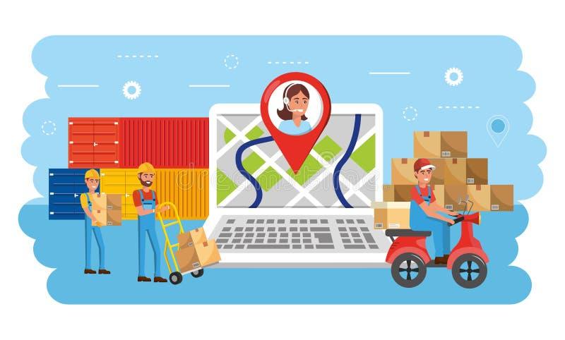 Leveringsmensen met de dienst en de containers van distributiedozen stock illustratie