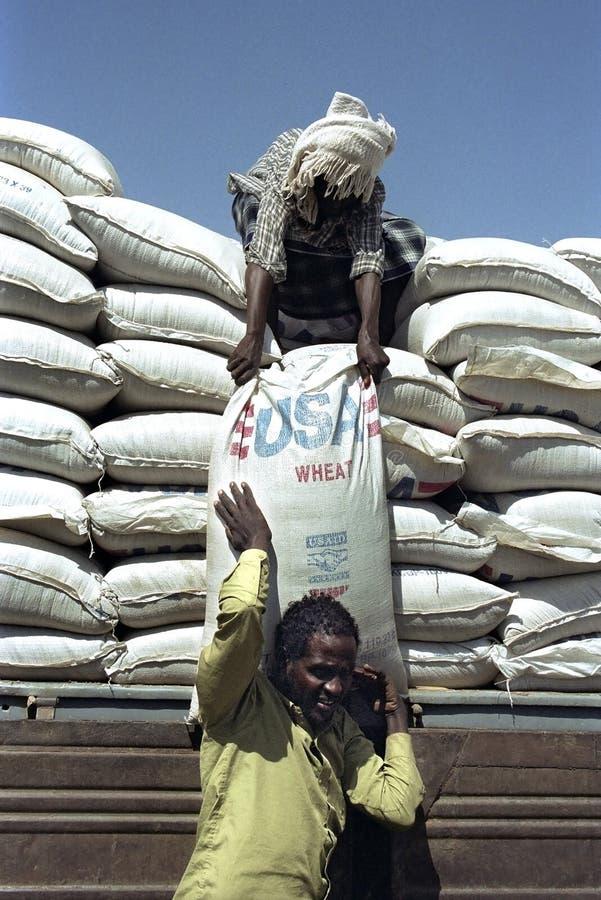 Leveringsvoedselhulp voor Verafgelegen mensen in Oost-Ethiopië stock afbeelding