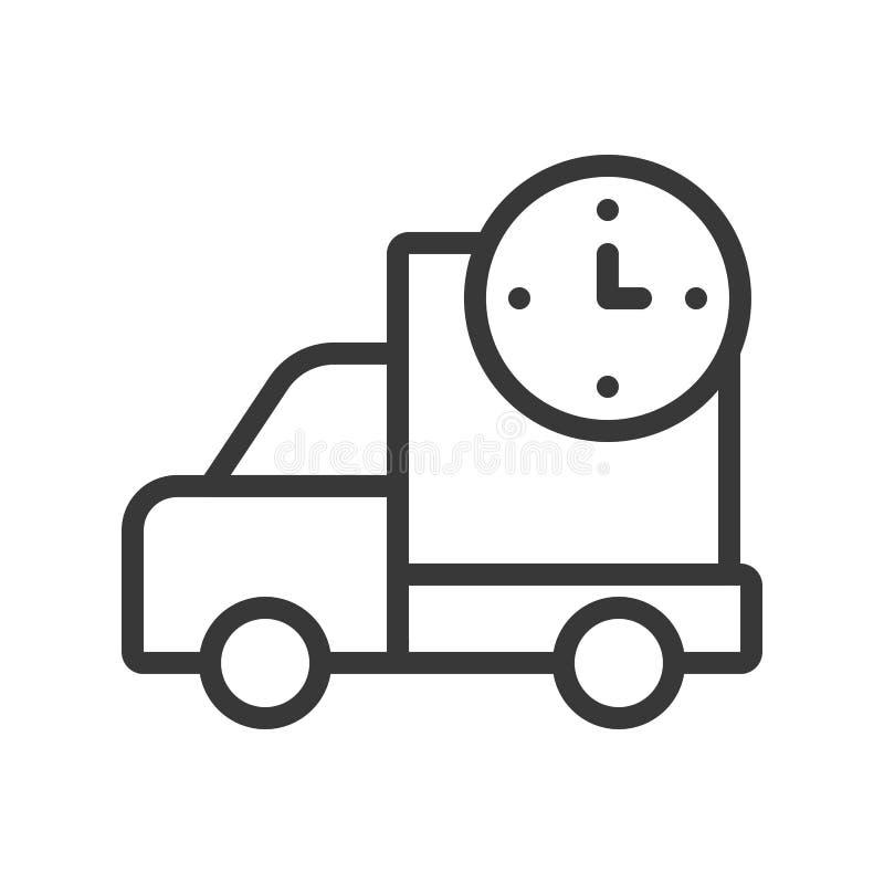 Leveringsvrachtwagen en klokteken, snel verschepend pictogram, overzicht desig royalty-vrije illustratie