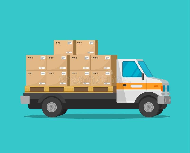 Leveringsvrachtwagen met de dozen vectorillustratie van de pakketlading, de vlakke bestelwagen van de beeldverhaalvracht of vrach vector illustratie