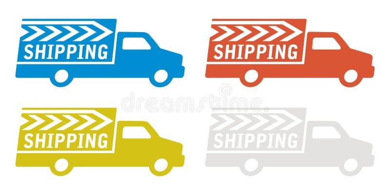Leveringsvrachtwagen met het verschepen van teken vector illustratie