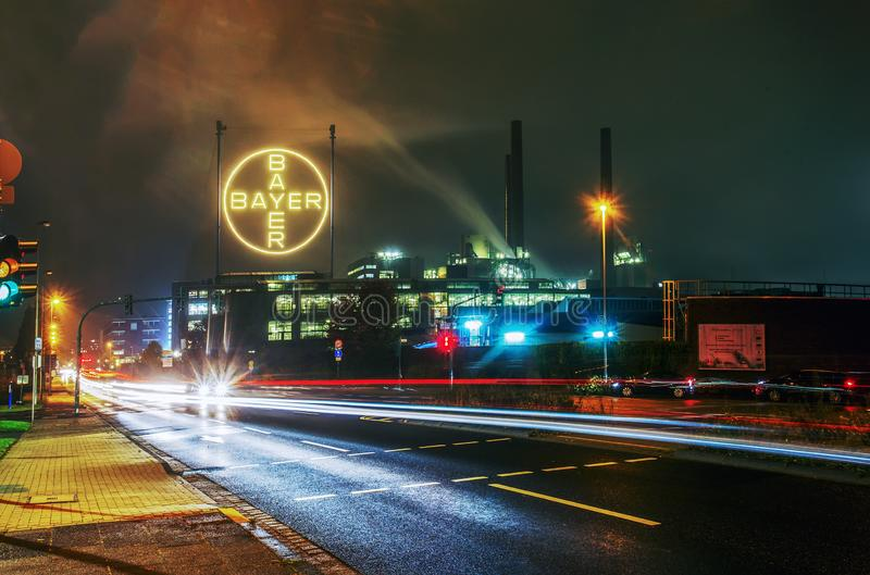 10/25/2016 Leverkusen Germany .Building of factory company BAYER. 10/25/2016 Leverkusen Germany .  Building of factory company BAYER  at  night.   Lights. BAUER royalty free stock photography