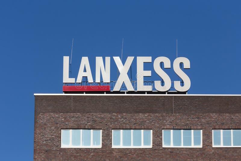 Leverkusen, Noordrijn-Westfalen/Duitsland - 23 11 18: lanxess teken in Leverkusen Duitsland stock fotografie