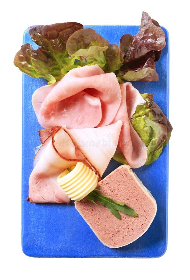Leverpastei, bacon en ham stock afbeeldingen