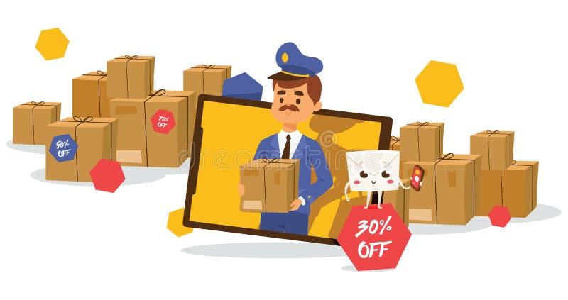 Levert de brievenbesteller vectorbrievenbesteller post in postbox of brievenbus en het postmensenkarakter draagt binnen geposte b royalty-vrije illustratie