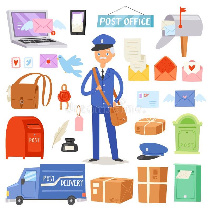 Levert de postkantoor vectorbrievenbesteller post in postbox of brievenbus en het postkarakter draagt geposte brieven in brievenv royalty-vrije illustratie