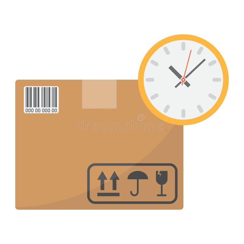 Levertijd vlak pictogram, logistisch en levering stock illustratie