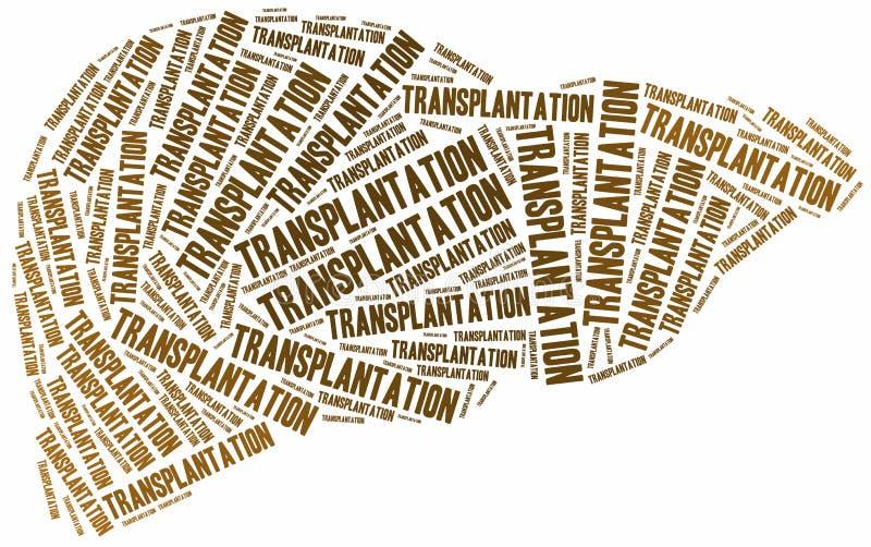Levertransplantation Collage för etikettsmolnbegrepp stock illustrationer