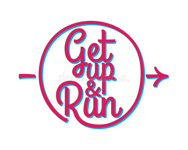 Levez-vous et courez Ensemble d'insigne courant de marathon illustration de vecteur