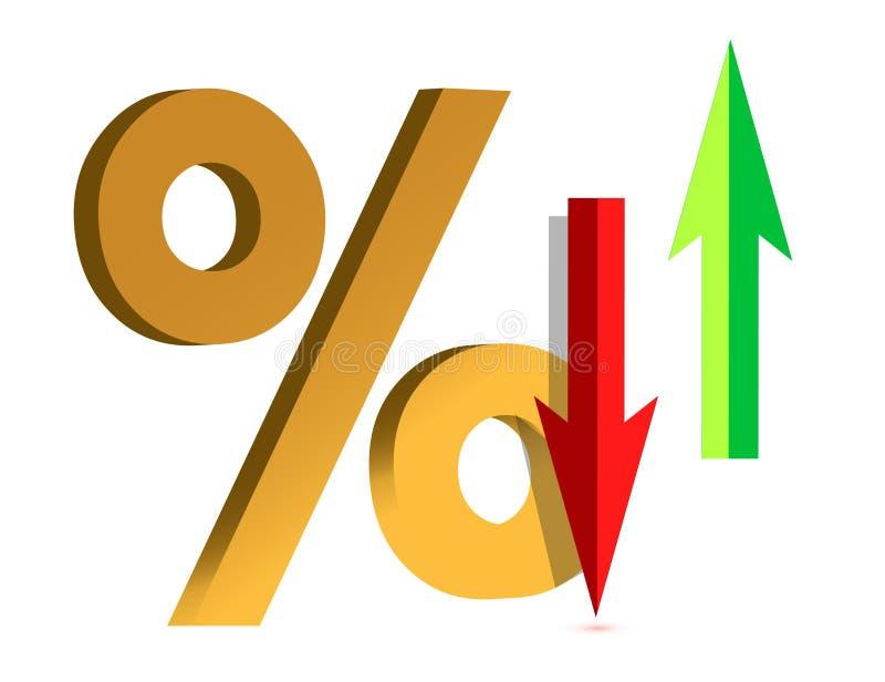 Levez-vous et tombez dans l'intérêt avec des pour cent de symbole illustration stock