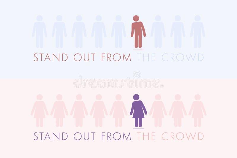 Levi in piedi fuori dalla folla royalty illustrazione gratis
