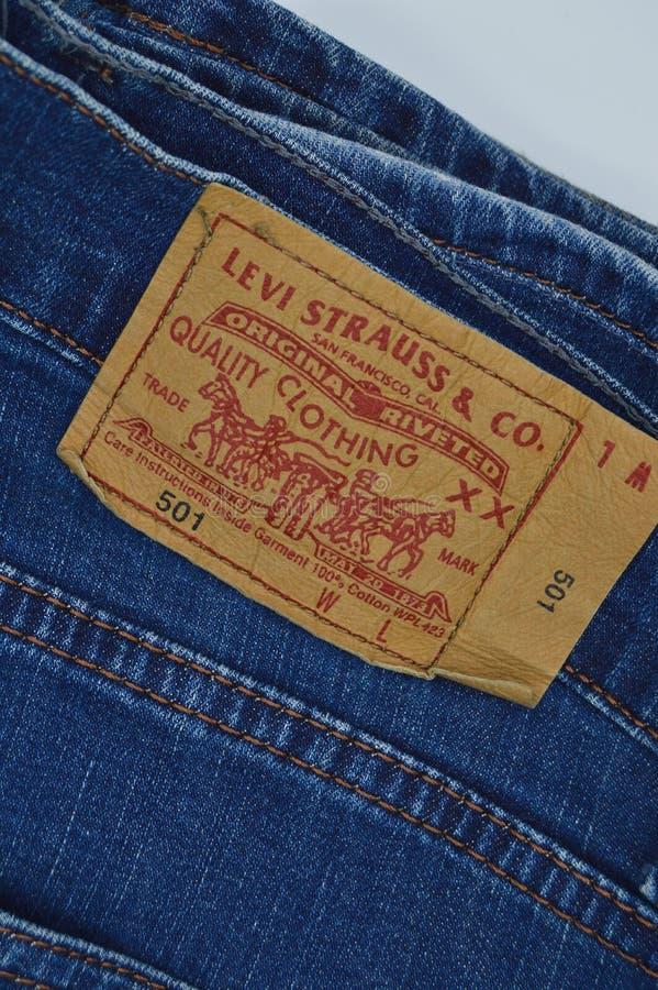 Levi Strauss 501 etikett arkivfoton