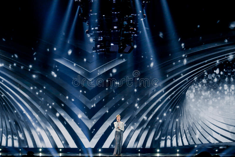 Levina from Germany Eurovision 2017. KYIV, UKRAINE - MAY 12, 2017: Levina from Germany at the Grand Final rehearsal during Eurovision Song Contest, in Kyiv stock photography