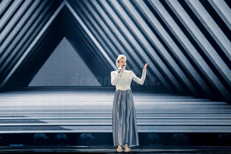 Levina from Germany Eurovision 2017. KYIV, UKRAINE - MAY 12, 2017: Levina from Germany at the Grand Final rehearsal during Eurovision Song Contest, in Kyiv stock photos