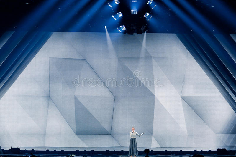 Levina from Germany Eurovision 2017. KYIV, UKRAINE - MAY 12, 2017: Levina from Germany at the Grand Final rehearsal during Eurovision Song Contest, in Kyiv royalty free stock photography