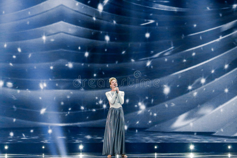 Levina from Germany Eurovision 2017. KYIV, UKRAINE - MAY 12, 2017: Levina from Germany at the Grand Final rehearsal during Eurovision Song Contest, in Kyiv royalty free stock photo