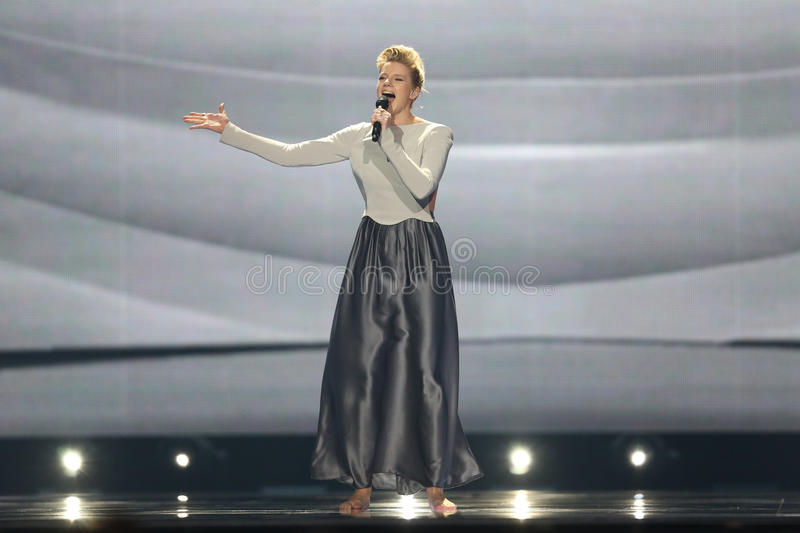Levina from Germany Eurovision 2017. KYIV, UKRAINE - MAY 10, 2017: Levina from Germany at the second semi-final rehearsal during Eurovision Song Contest, in Kyiv royalty free stock photo