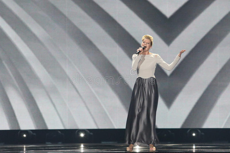 Levina from Germany Eurovision 2017. KYIV, UKRAINE - MAY 10, 2017: Levina from Germany at the second semi-final rehearsal during Eurovision Song Contest, in Kyiv stock image