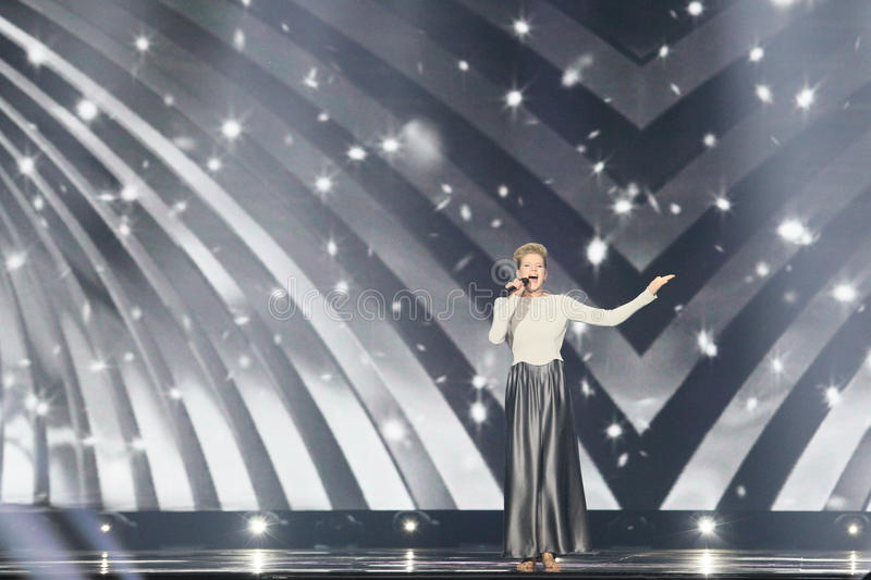 Levina from Germany Eurovision 2017. KYIV, UKRAINE - MAY 10, 2017: Levina from Germany at the second semi-final rehearsal during Eurovision Song Contest, in Kyiv stock photography