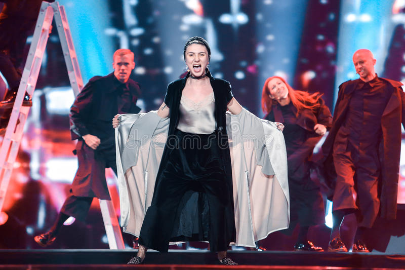 Levina from Germany at the Eurovision Song Contest. KYIV, UKRAINE - MAY 08, 2017: Levina from Germany at the first semi-final rehearsal during Eurovision Song stock photos