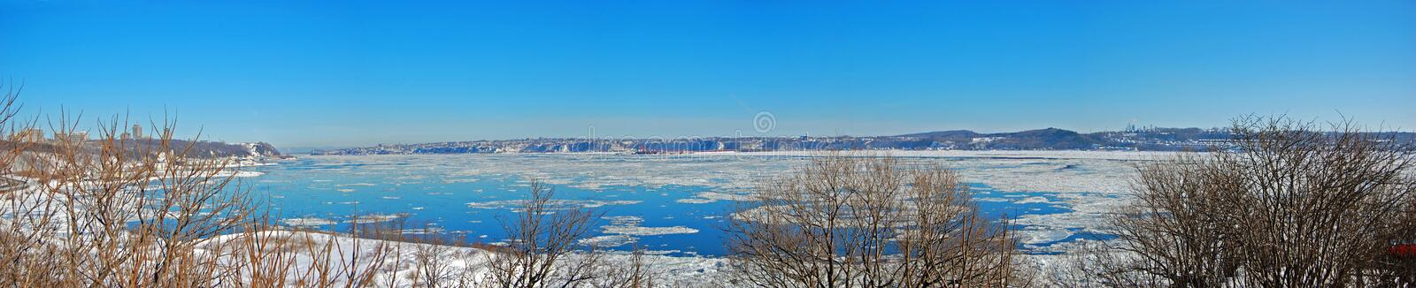 Levis City skyline and St. Lawrence River, Quebec, Canada stock photo