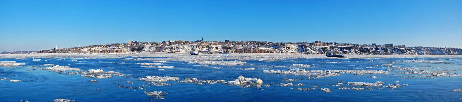 Levis City skyline and St. Lawrence River, Quebec, Canada stock photos