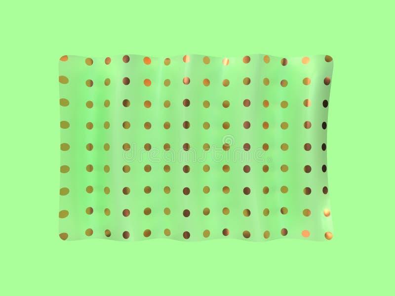 levitación abstracta 3d de la bandera del oro verde rendir ilustración del vector
