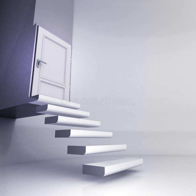 Levitando escadas no espaço conceptual com porta fechado ilustração royalty free