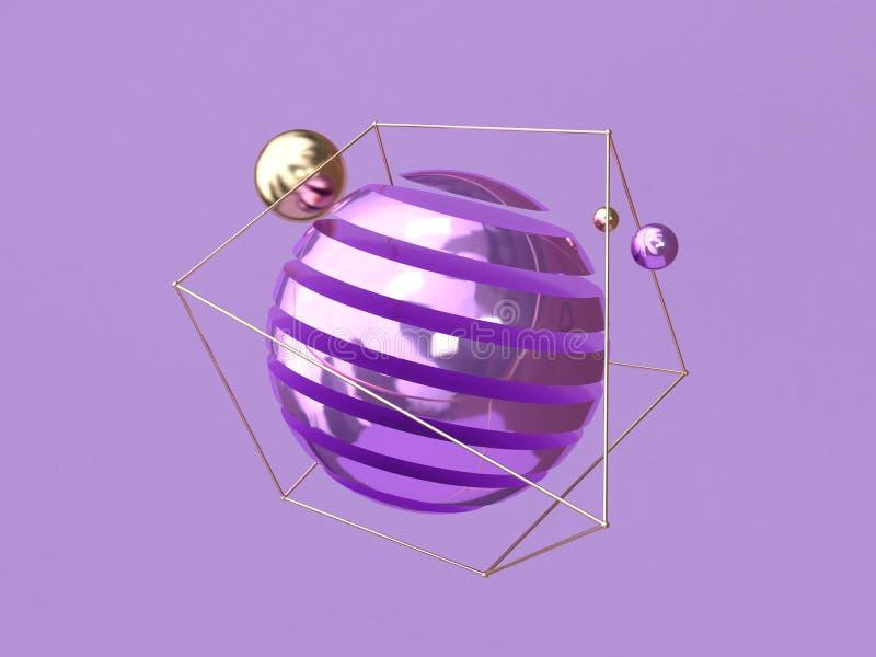 Levitatie het purpere achtergrond metaal abstracte gebiedvorm 3d teruggeven royalty-vrije illustratie
