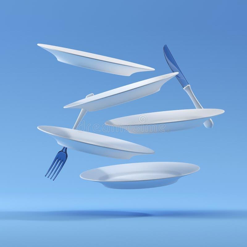 Levitatie onderga van het platenvork en mes samenstelling het 3D teruggeven royalty-vrije stock afbeeldingen