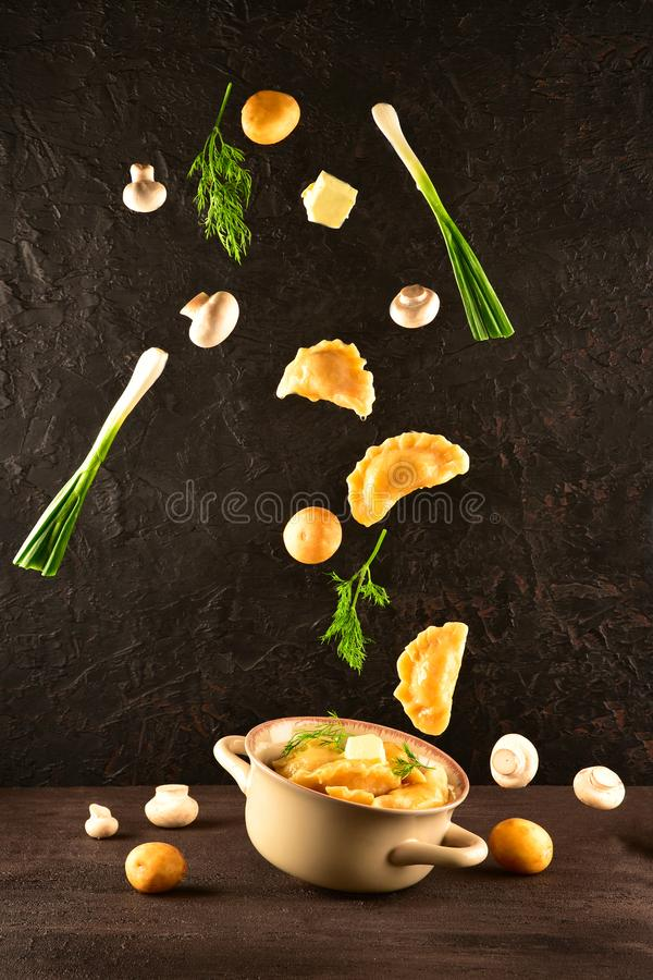 Levitating food. Pierogi. Dumplings with potatoes and mushrooms are flying. Ready meal. Levitating food. Pierogi. Dumplings with potatoes and mushrooms are stock photography