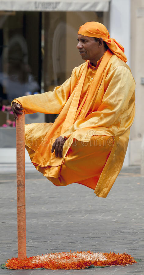Levitating Street Performer in Rome, Italy stock images