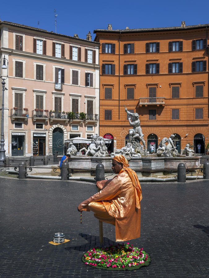 Levitating Street Performer in Rome, Italy royalty free stock image