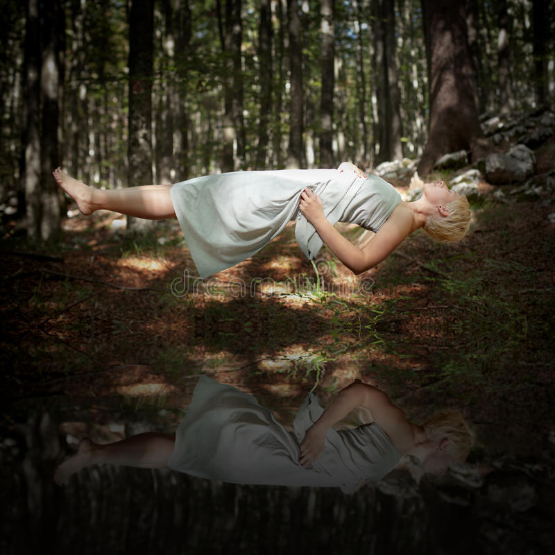 Download Levitating Woman Above Water Stock Image - Image: 40374269