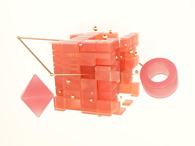 Levitation object abstract orange cube geometric shape pink circle floating 3d rendering. Abstract orange cube geometric shape pink circle floating 3d rendering stock illustration