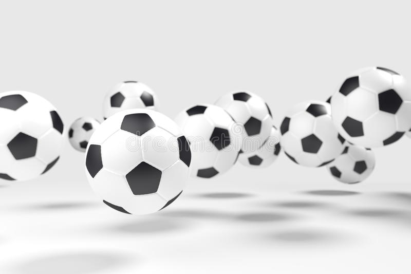 Levitation of the soccer balls (football). royalty free stock photo