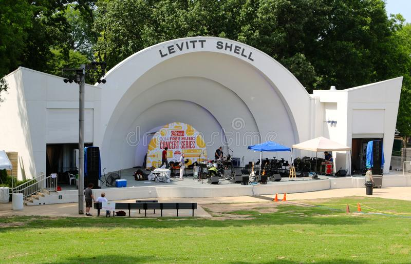The Levitt Shell at Overton Park. Musicians practice for a Performance at the Levitt Shell. The Levitt Shell (formerly Overton Park Shell and Shell Theater) is royalty free stock image
