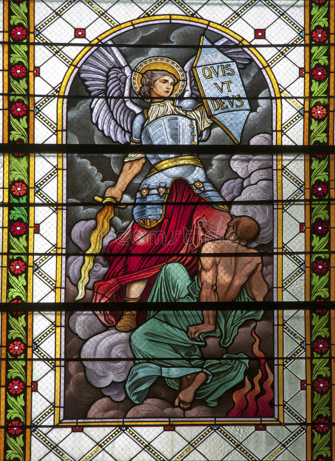 Levoca - Saint Michel - cristal de una ventana foto de archivo libre de regalías