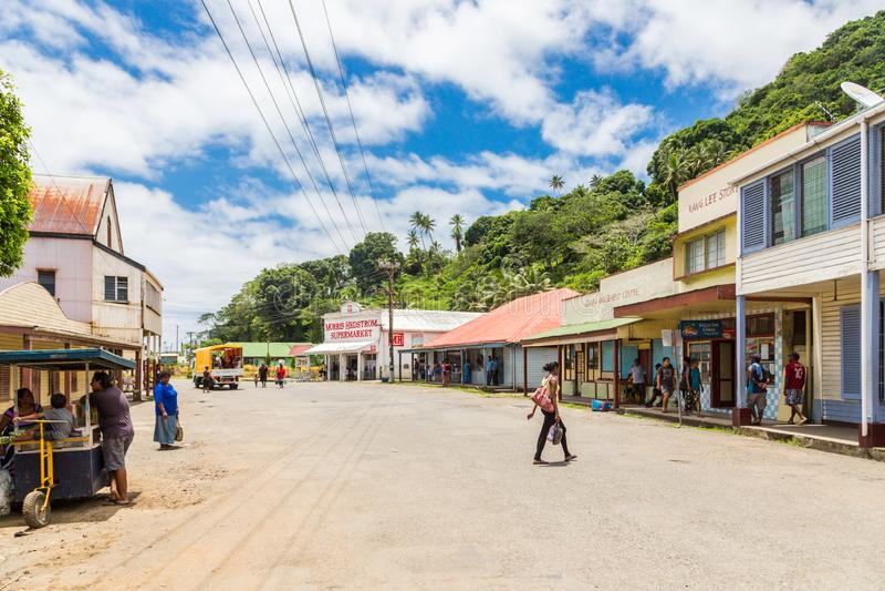 Levuka, Fiji Colourful wibrująca ulica stary kolonialny kapitał Fiji, Levuka miasteczko -, Ovalau wyspa, Fiji, Melanesia, Oceania obrazy royalty free