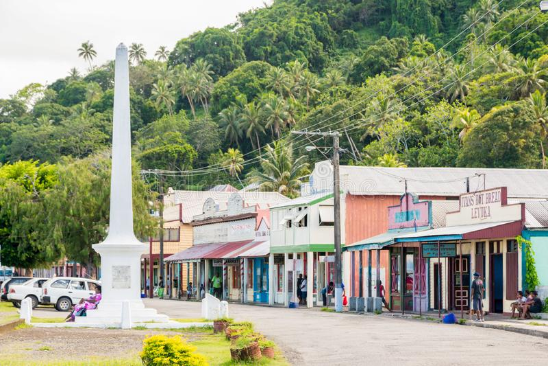 Levuka, Fiji Colourful wibrująca ulica stary kolonialny kapitał Fiji, Levuka miasteczko -, Ovalau wyspa, Fiji, Melanesia, Oceania fotografia stock